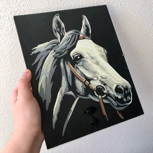 VINTAGE Hand Painted Horse Head Wall Art Black Fel
